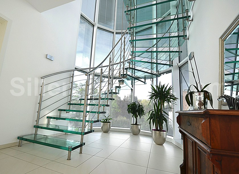 Self supporting Glass and Stainless Steel Open staircase SEVILLA VETRO   Open staircase by Siller Treppen