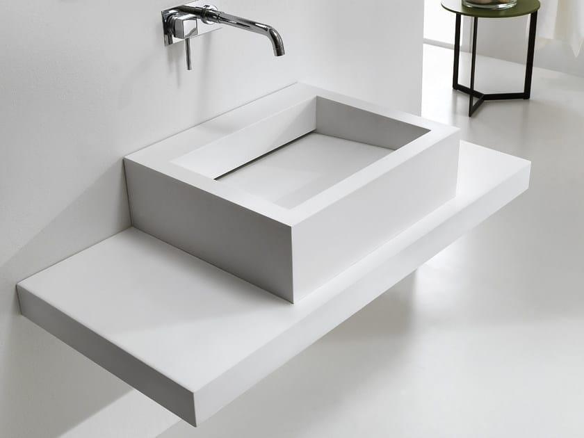 Countertop rectangular HI-MACS® washbasin SLIDE by Ponte Giulio
