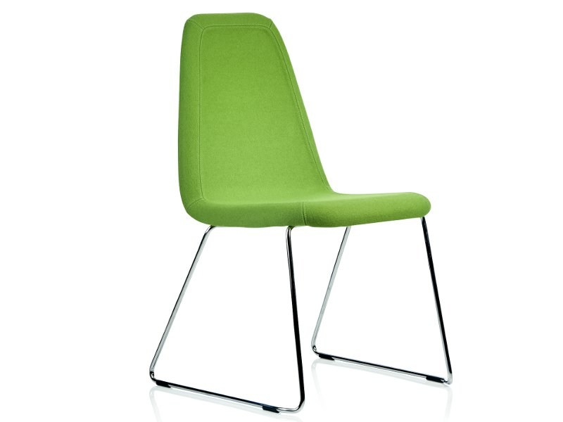 Sled base upholstered leather chair GAME | Sled base chair by Johanson Design