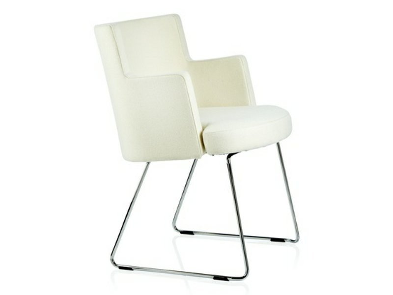 Sled base upholstered easy chair with armrests CAPE | Sled base easy chair by Johanson Design