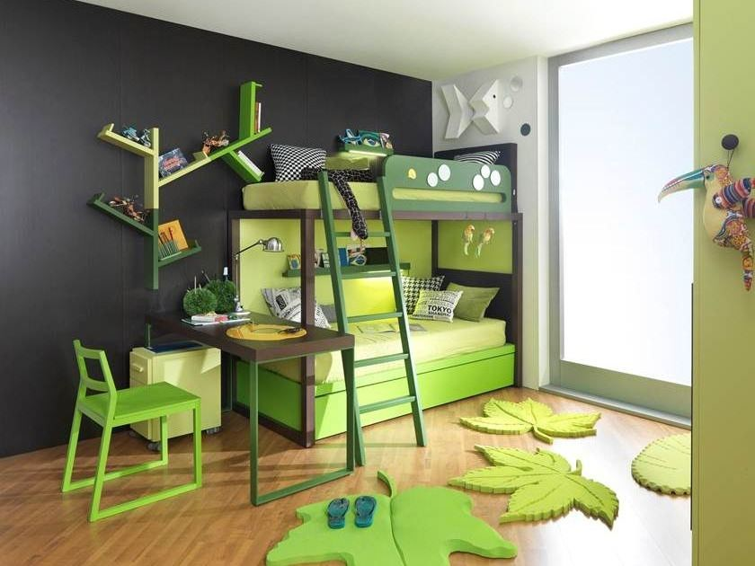 Trundle bunk bed S012 | Bunk bed by dearkids