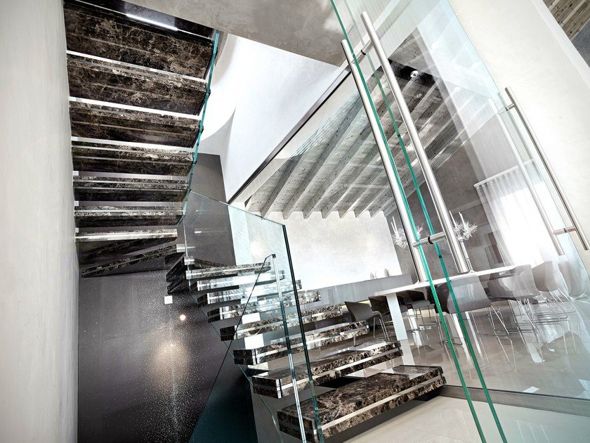 Marble hanging stairs LUXO STONE by OFFICINE SANDRINI
