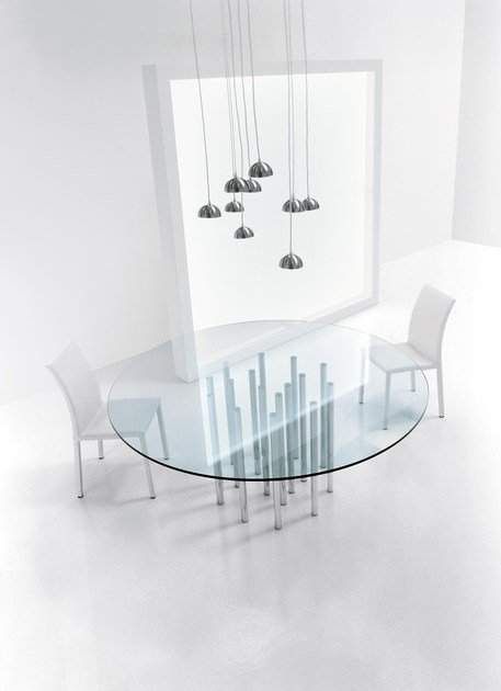 Glass and steel table MILLE by Bonaldo