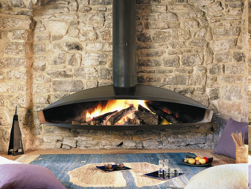 Central hanging steel fireplace ANTÉFOCUS by Focus creation
