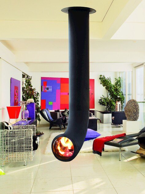 zentraler h ngender kamin aus stahl renzofocus by focus creation design dominique imbert. Black Bedroom Furniture Sets. Home Design Ideas