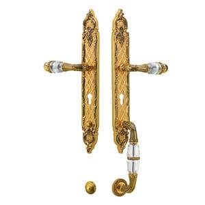 Brass exterior door handle with Swarovski® Crystals NEW INFINITY | Exterior door handle by Bronces Mestre