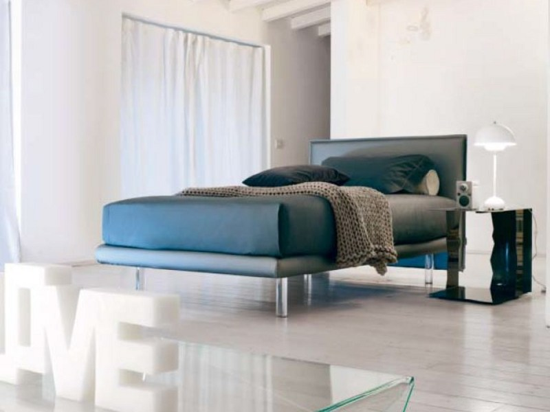 Upholstered single bed with removable cover BILLO | Single bed by Bonaldo