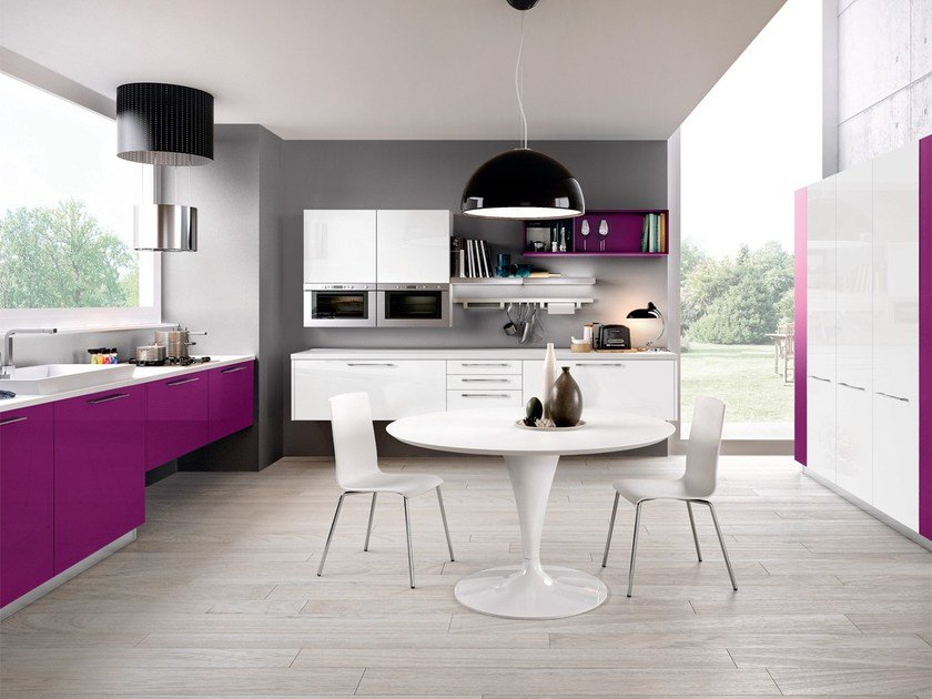 Lacquered wooden fitted kitchen ADELE PROJECT   Fitted kitchen by Cucine Lube