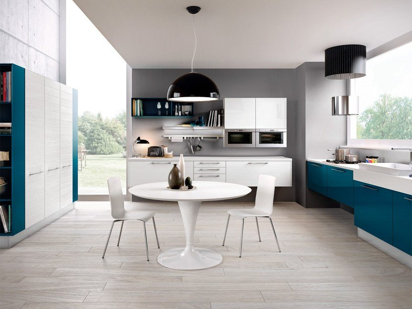 Lacquered wooden fitted kitchen ADELE PROJECT | Wall-mounted kitchen by Cucine Lube