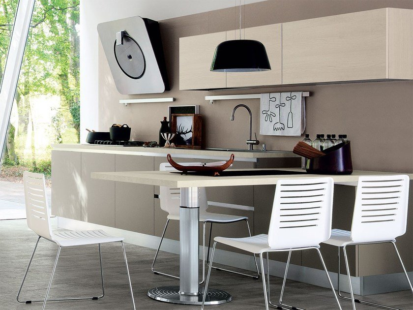 Wooden fitted kitchen without handles ESSENZA   Fitted kitchen by Cucine Lube