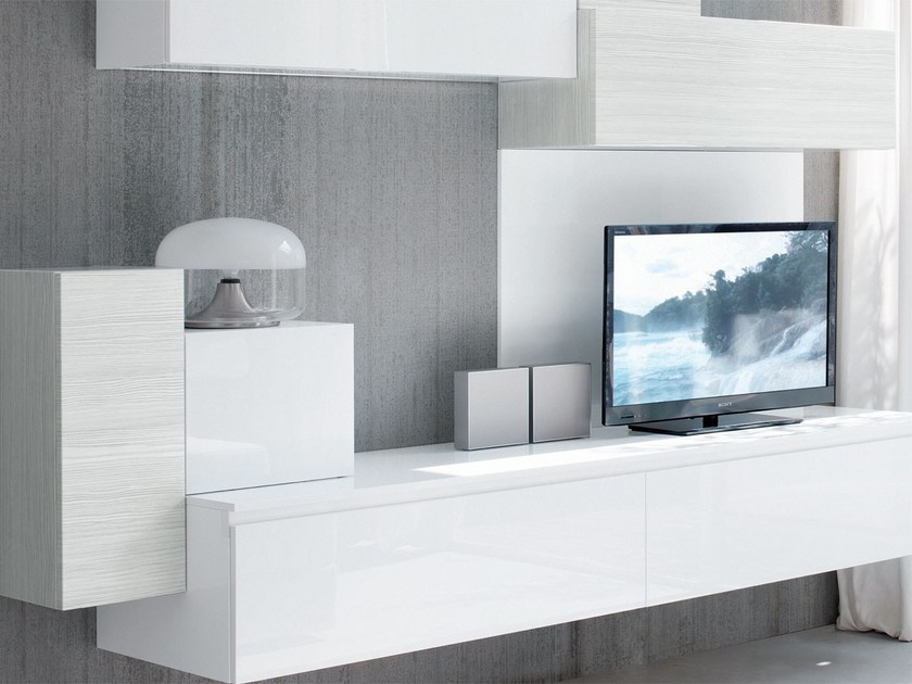 Sectional wall-mounted lacquered storage wall ESSENZA | Sectional storage wall by Cucine Lube