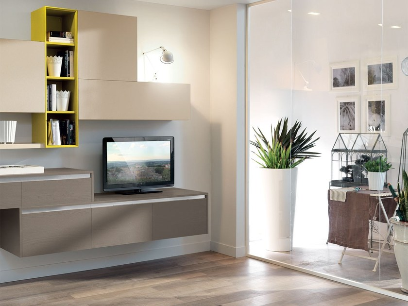 ESSENZA   Lacquered storage wall By Cucine Lube