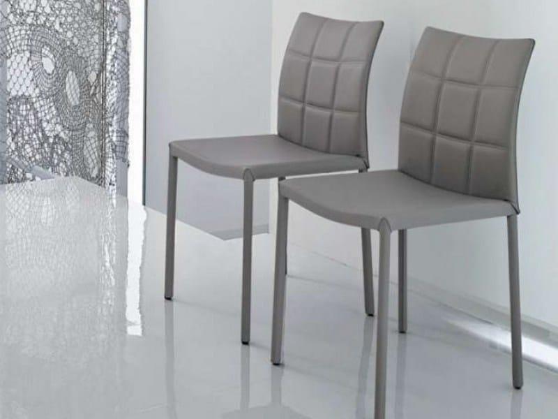 Upholstered leather chair GILDA by Bonaldo