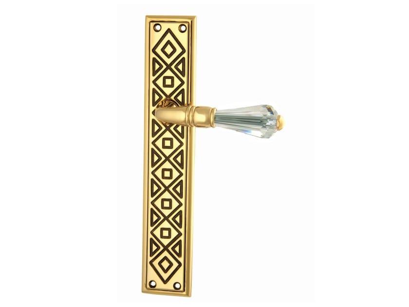 Brass door handle on back plate MECANO   Brass door handle by Bronces Mestre