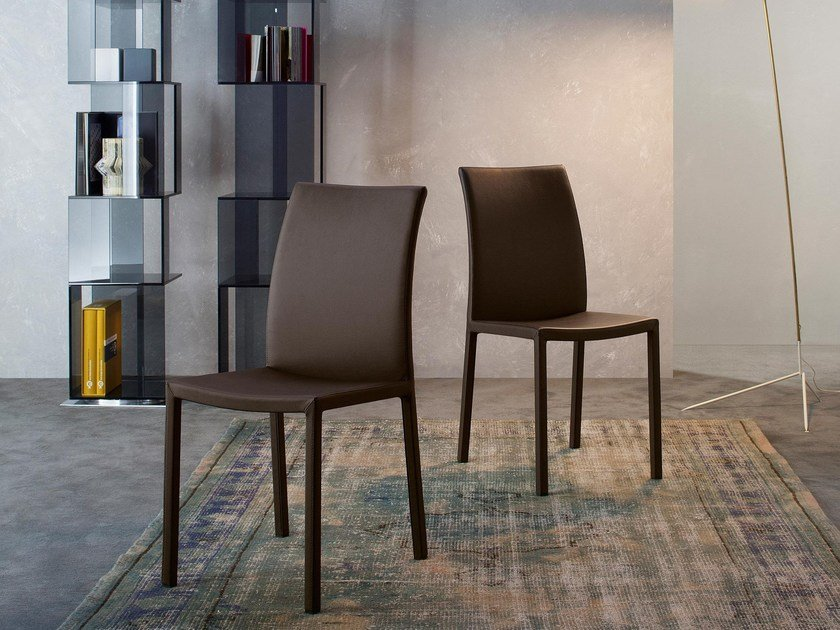 Upholstered leather chair MARTA by Bonaldo