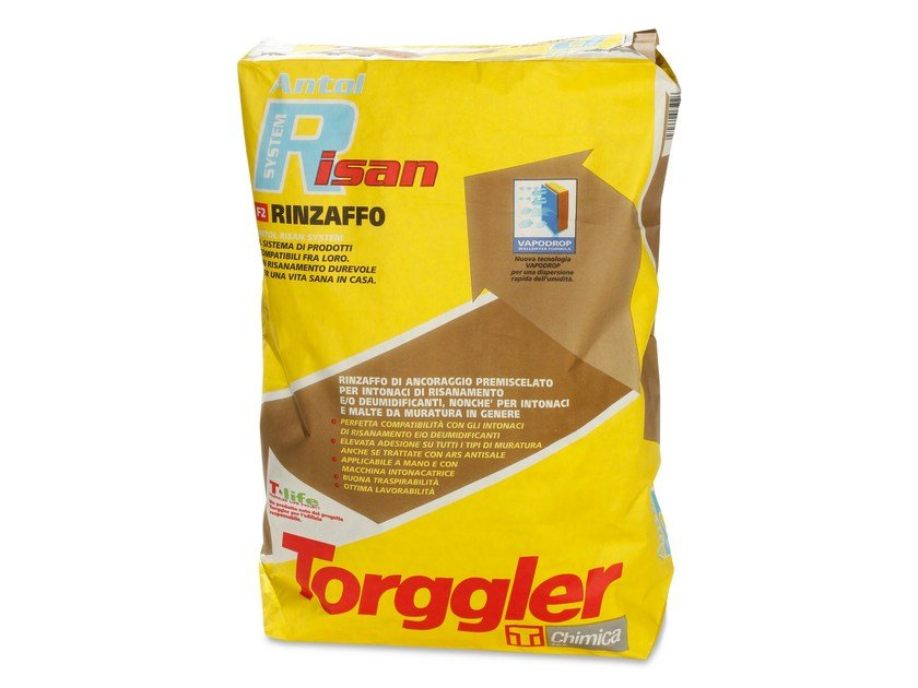 Renovating and de-humidifying additive and plaster ANTOL RISAN SYSTEM RINZAFFO by Torggler Chimica