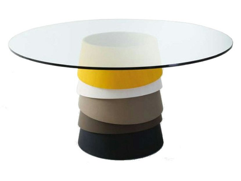Round crystal table LAYER by Gallotti&Radice