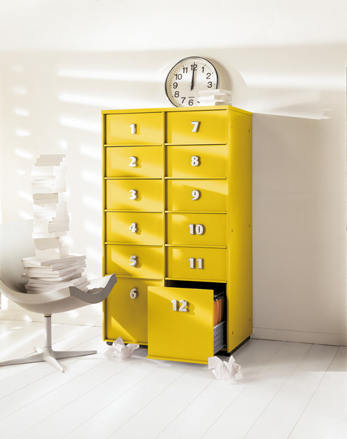 TOOLBOX Toolbox a 12 cassetti laccato opaco Giallo Limone