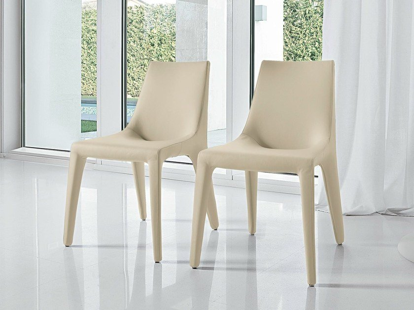 Upholstered leather chair TIP TOE by Bonaldo