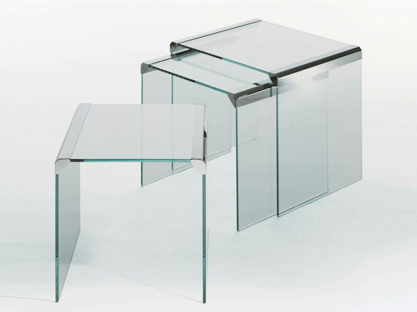 Stackable crystal coffee table T 35 TRIO by Gallotti&Radice