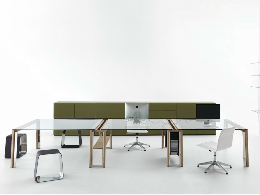 Rectangular crystal office desk WGS DOUBLE by Gallotti&Radice