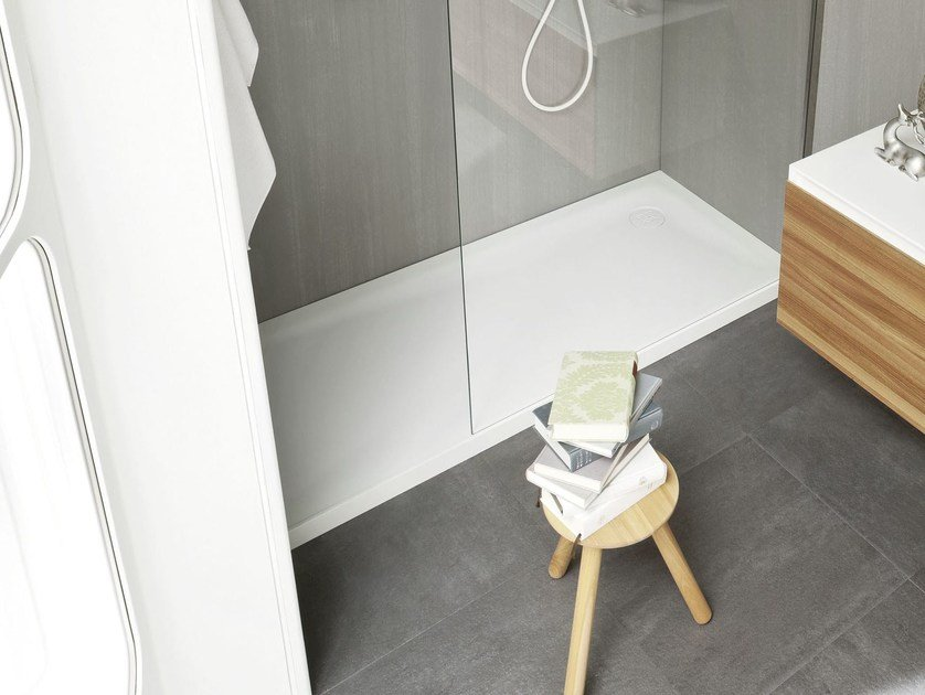Design rectangular Corian® shower tray ERGO-NOMIC | Corian® shower tray by Rexa Design