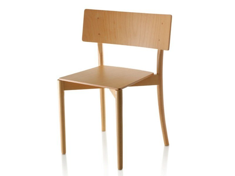 Stackable beech chair ARC by Zilio A&C