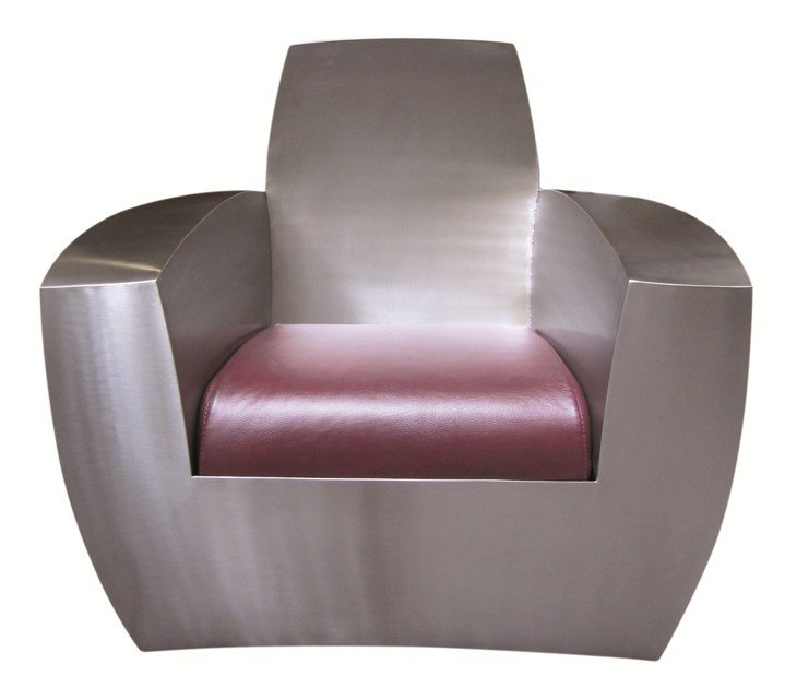 Industrial style upholstered stainless steel armchair EASY TWO by ICI ET LÀ