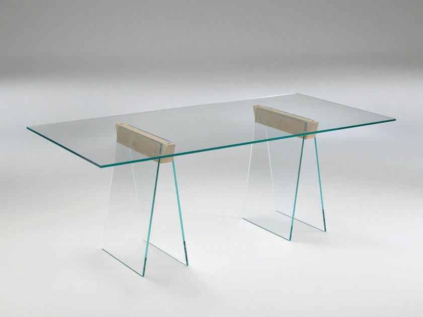 Rectangular glass table KASTEEL by Tonelli Design