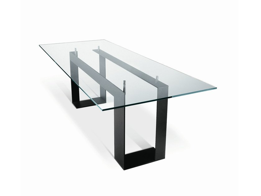 Rectangular glass table MILES by Tonelli Design