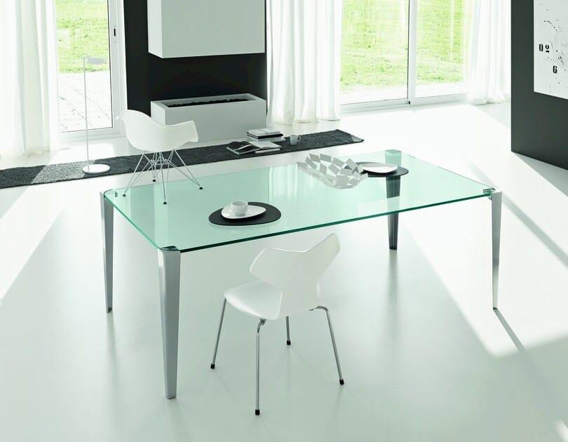 Rectangular glass table STRATOS MONO by Tonelli Design
