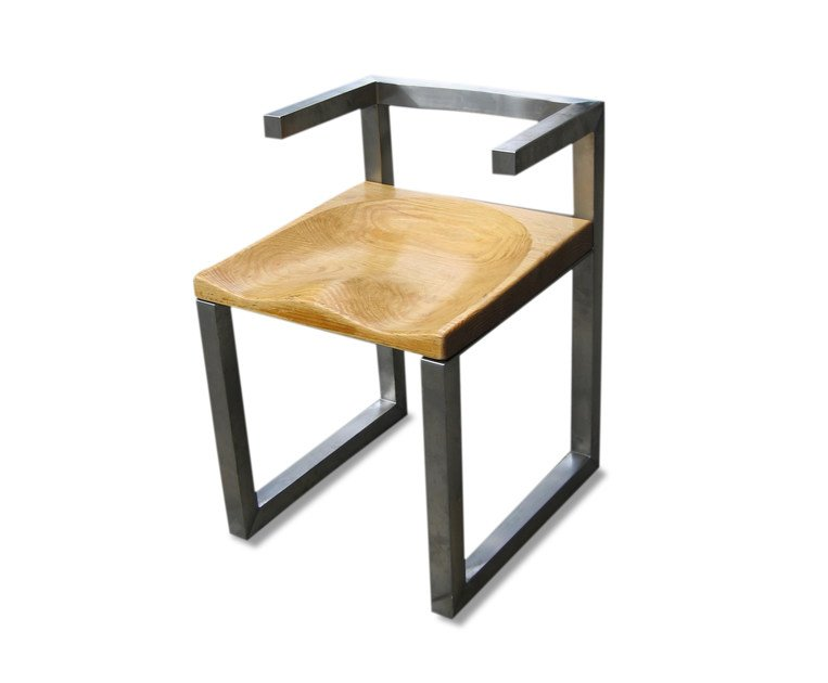 Stainless steel chair with armrests BUM by ICI ET LÀ