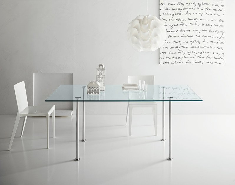 Rectangular glass table TWIGGY by Tonelli Design