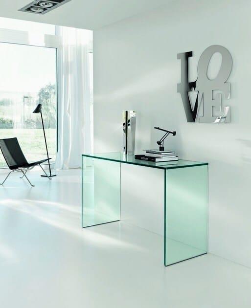 Büro Schreibtisch Aus Glas Gulliver By Tonelli Design