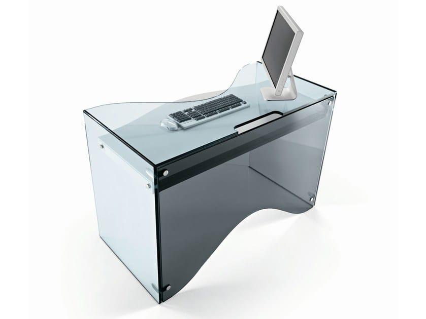 Scrivania Per Computer Design.Pc Glass Writing Desk Strata By Tonelli Design Design Karim Rashid