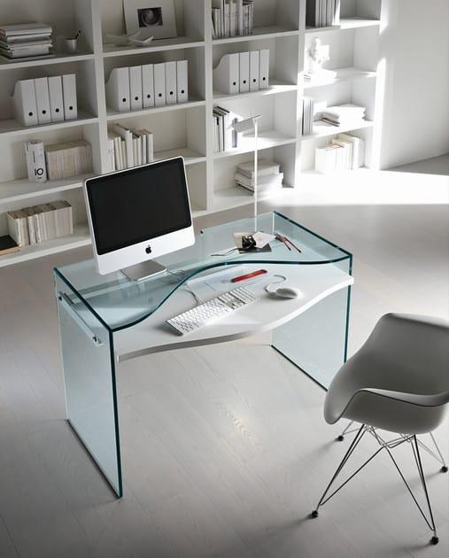 Scrivania Pc In Vetro.Scrivania In Vetro Per Pc Strata Tonelli Design