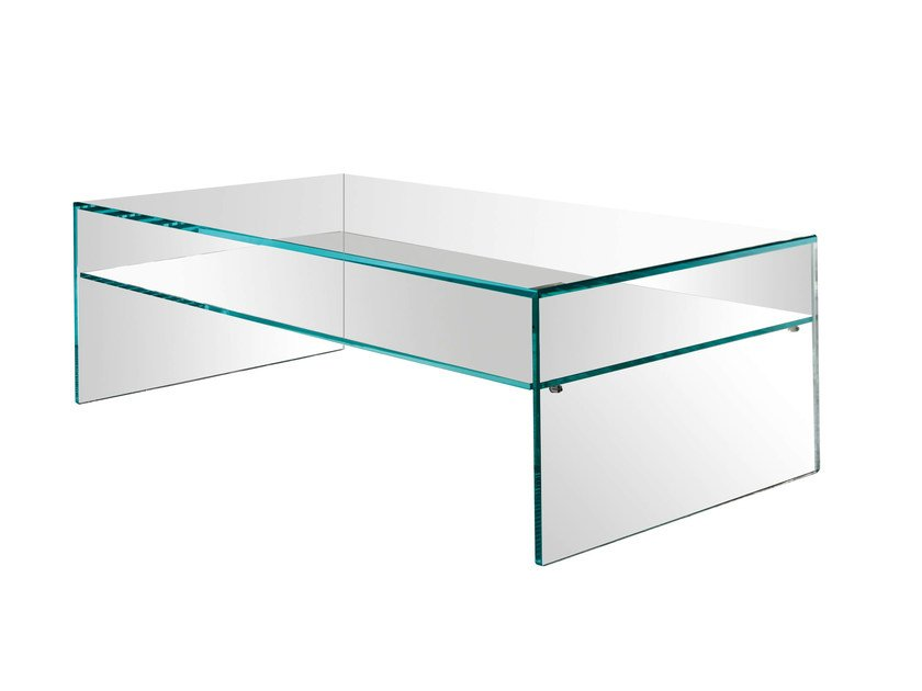 Rectangular glass coffee table FRATINA DUE by Tonelli Design