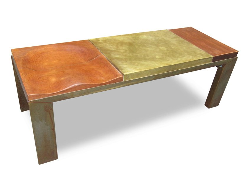Oak bench BRASS BUM by ICI ET LÀ