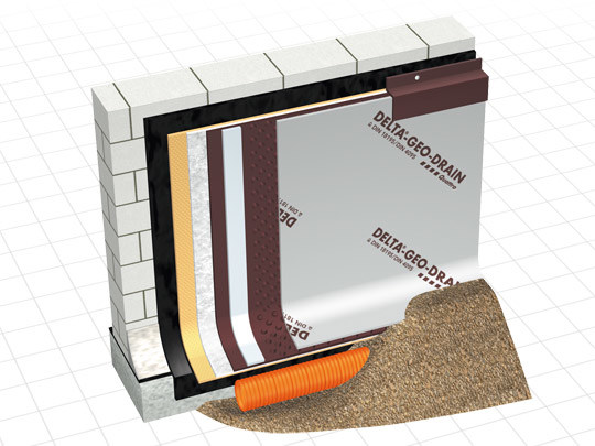 Honeycombed and textured membrane DELTA® - GEO DRAIN QUATTRO by DÖRKEN ITALIA
