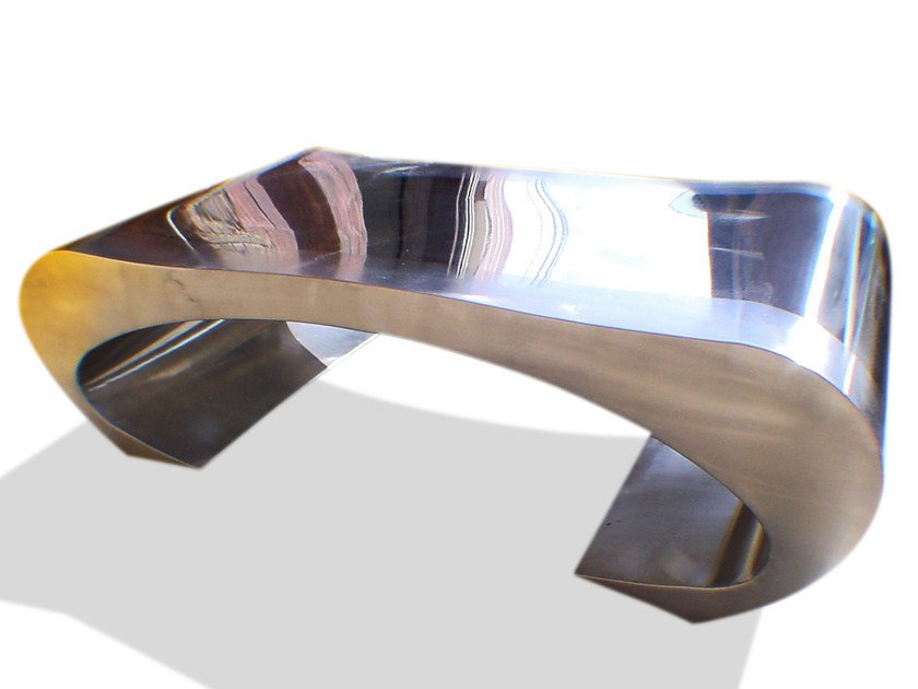 Stainless steel coffee table for living room WAIST by ICI ET LÀ