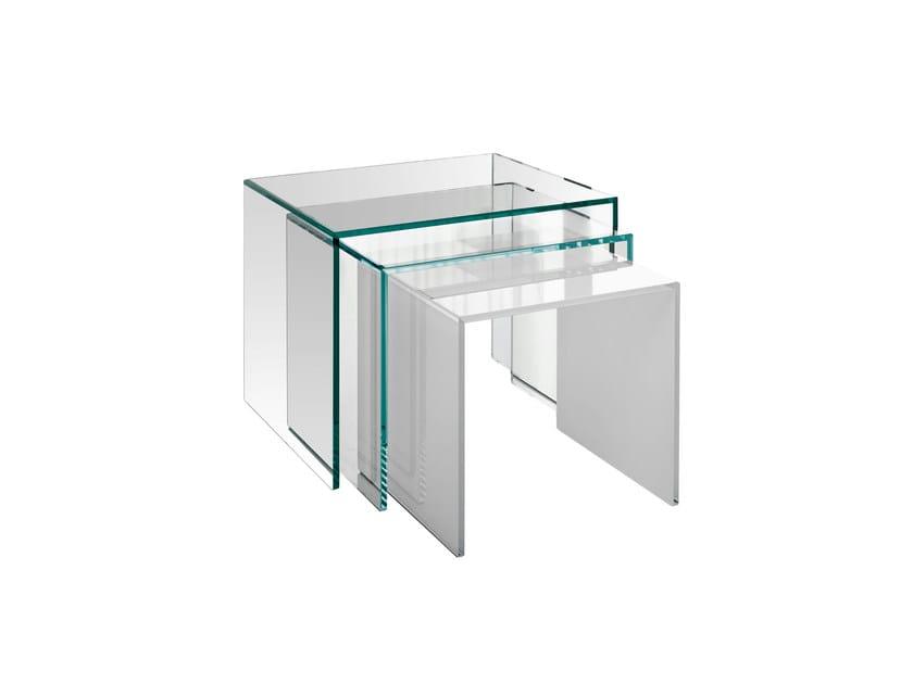 Glass side table TRIO by Tonelli Design