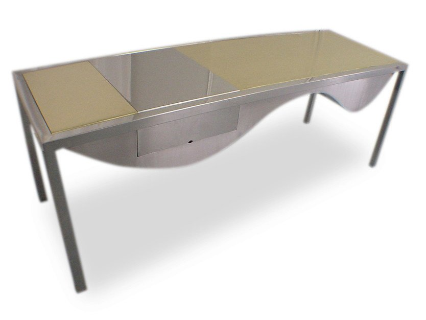 Design stainless steel writing desk with drawers ORO INCA by ICI ET LÀ