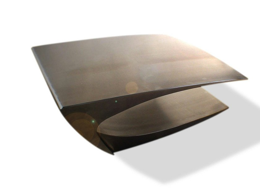 Stainless steel coffee table UNFLAT by ICI ET LÀ