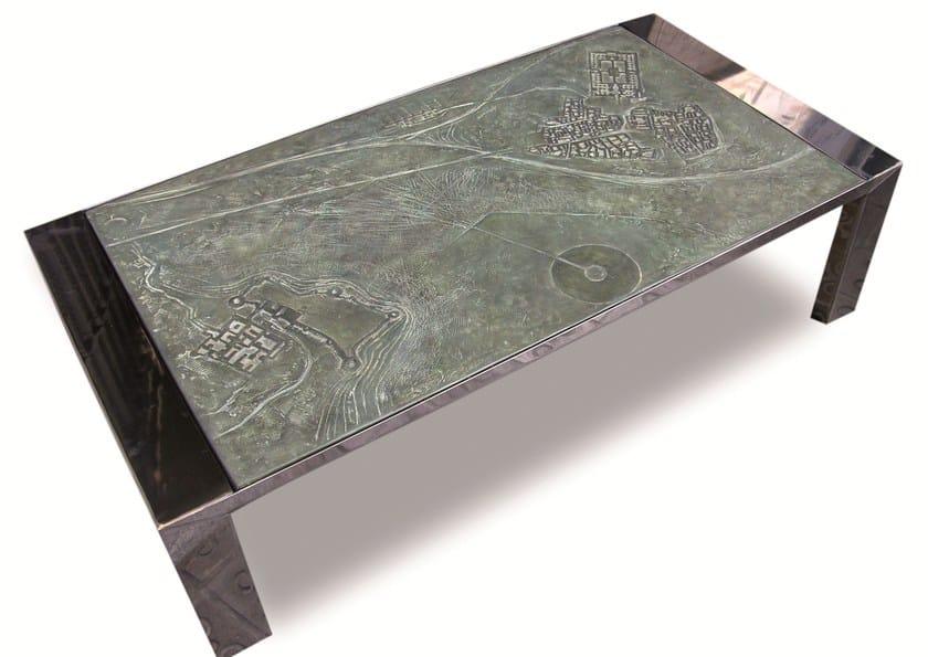 Rectangular stainless steel coffee table PAISAJES DE LA MEMORIA III by ICI ET LÀ