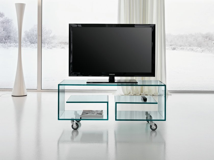 Glass TV Cabinet With Casters FLÒ 1 By Tonelli Design