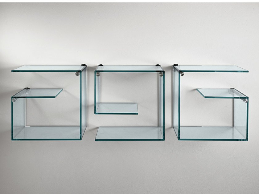 Wall-mounted glass bookcase ALFABETA by Tonelli Design