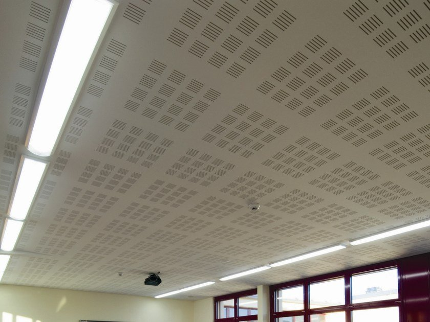 Acoustic plasterboard ceiling tiles LASTRA DB 4F by Fibran