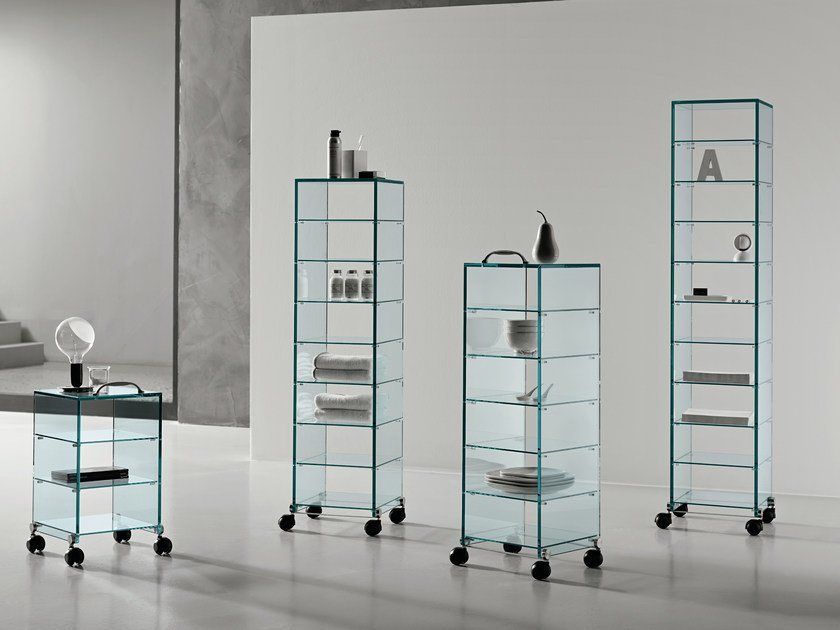 Glass display cabinet with casters DAPPERTUTTO by Tonelli Design