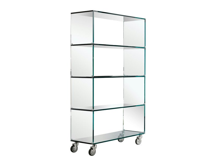 Glass bookcase with casters LIBRERIA by Tonelli Design