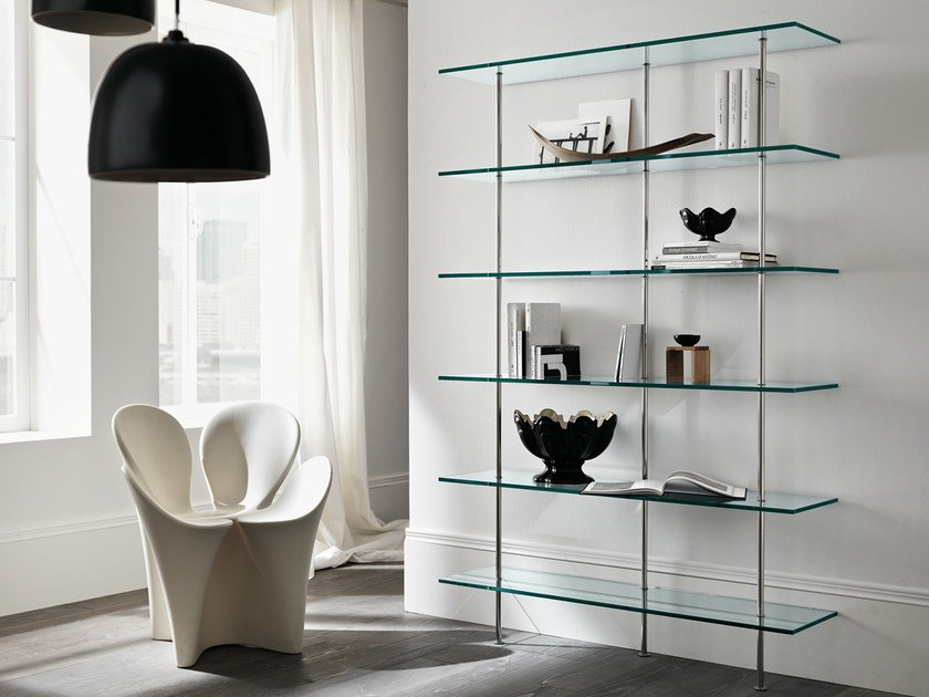 Sectional glass bookcase TRASPARENZA by Tonelli Design